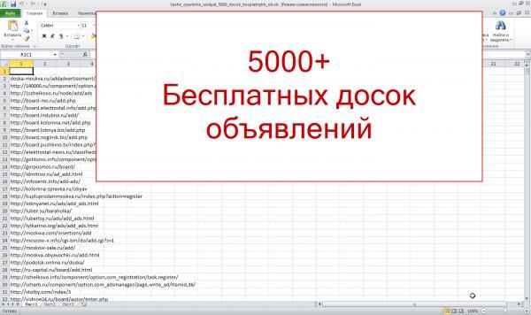 База досок для бесплатных объявлений (5 тыс)