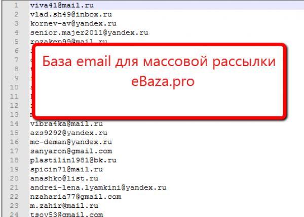 база данных почтовых адресов